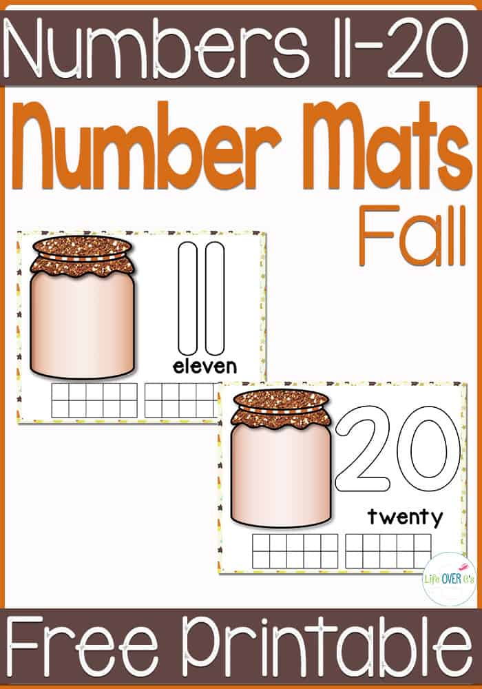 Free fall play dough number mats for exploring numbers 11-20.