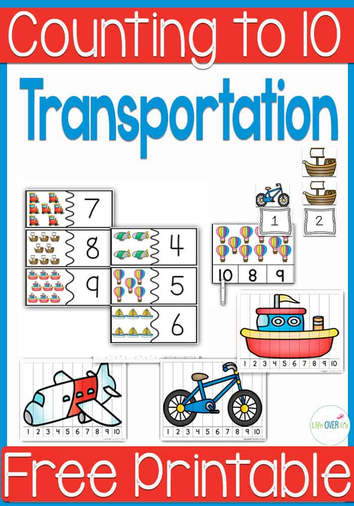 Four free printable transportation themed activities for counting to 10. Perfect for introducing numbers to new preschoolers and kindergarteners.