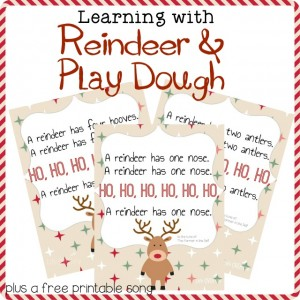 This Christmas play with play dough, sing some songs and have lots of fun learning while doing these fun reindeer preschool activities!