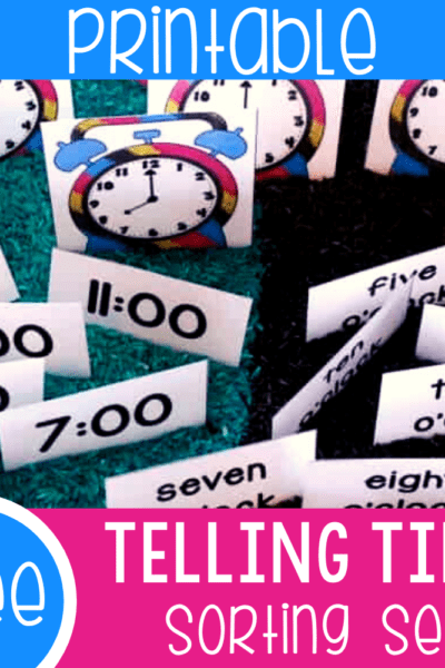 Free printable time sorting and matching activity for kids. Learn to tell time on an analog clock, digital format and with words using this fun matching and sorting time game.