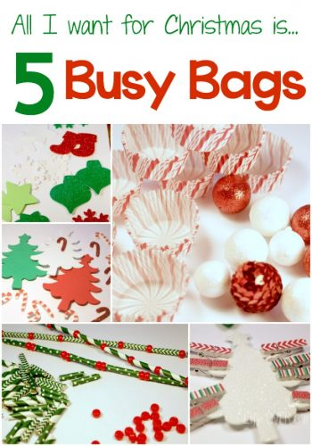 These 5 Christmas busy bags can be prepared in less than 30 minutes, require only a few materials and can be used for toddlers, preschoolers and kindergarteners with the included suggestions for differentiation. Make these and get some quiet time during the Christmas season!