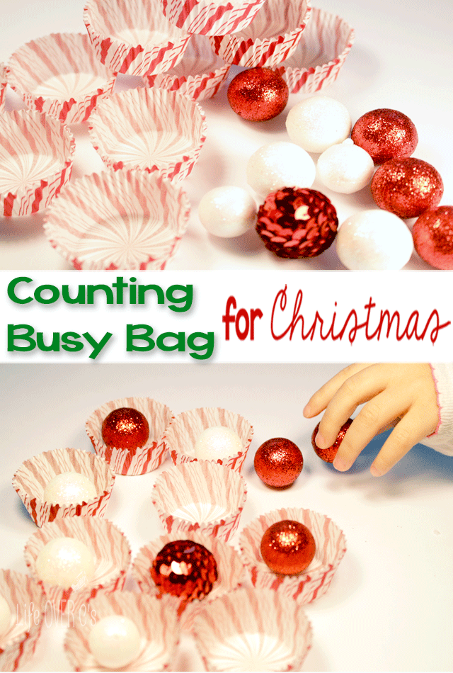 This Christmas counting busy bag will not only buy you a few minutes of free time, but you can also use it to introduce counting to your toddler or preschooler.
