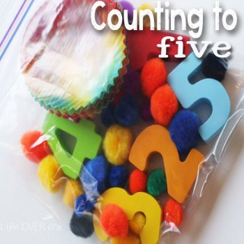 Practice counting to five with this beautiful rainbow busy bag for preschoolers!