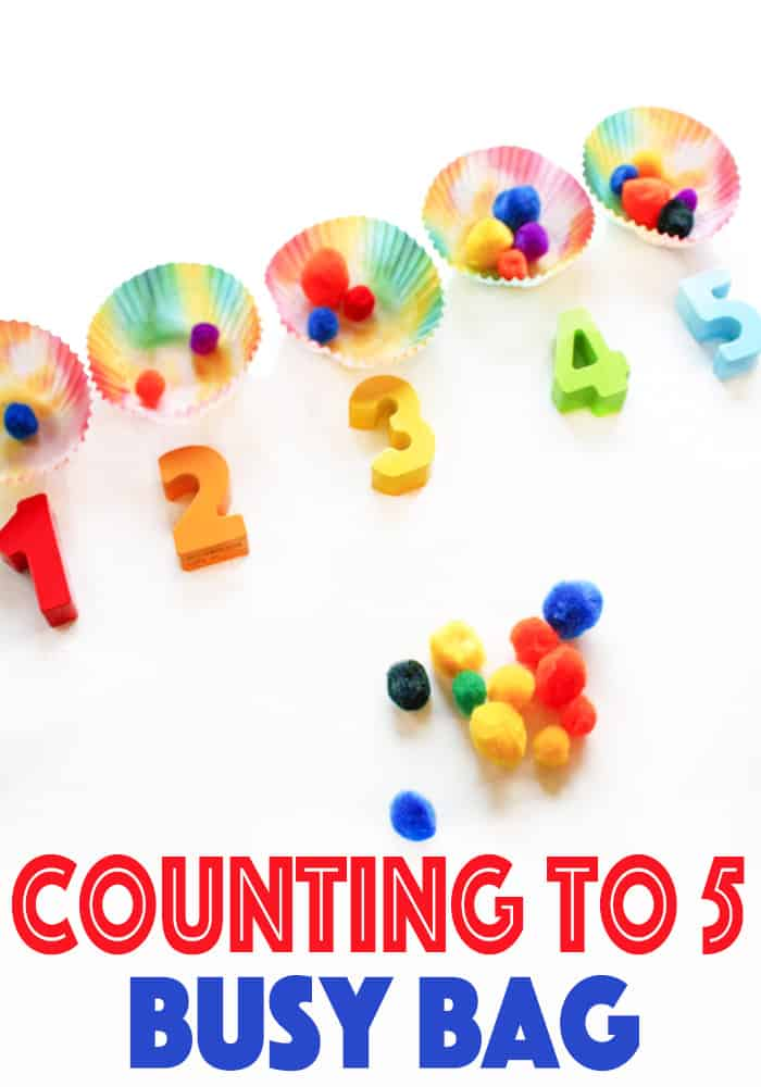 Counting to 5 is so fun with this rainbow theme counting to five busy bag for toddlers and preschoolers! Super easy to put together too.
