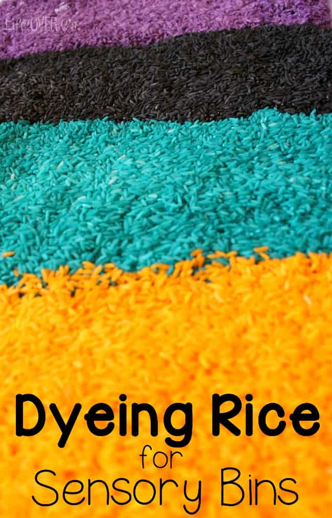 Dyeing rice for sensory bins is really easy with these simple instructions.
