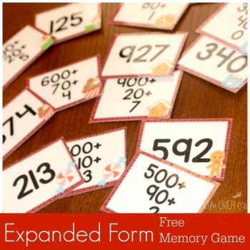 FREE expanded form printable pack for Christmas. Two memory games and a fun hands-on manipulative set.