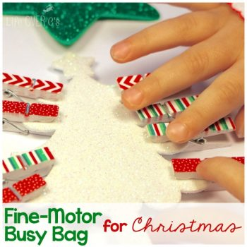 This Christmas fine-motor busy bag is a perfect way for your toddler or preschooler to build their fine-motor skills while giving you some quiet time this Christmas!