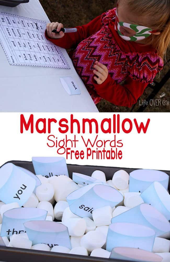 This marshmallow sight words free printable is perfect for read the room, a scavenger hunt or a sensory bin!