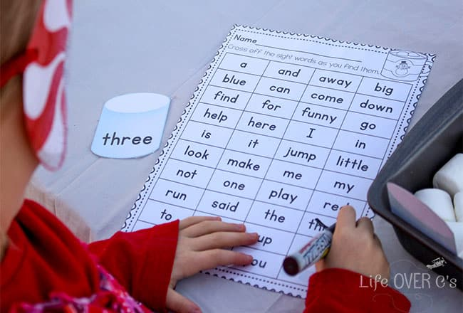 Learn pre-primer sight words with this free printable that is perfect for read-the-room, a scavenger hunt or a sensory bin.