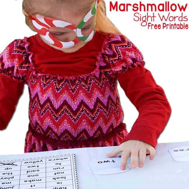 Peppermint glasses make this marshmallow sight word free printable even more fun!