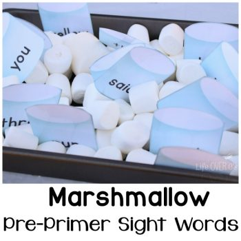 Download this marshmallow sight words free printable for an engaging way to learn pre-primer sight words.