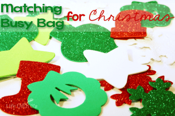 This Christmas matching busy bag will keep your toddler or preschool busy while you have a few moments of quiet time during the busy Christmas season. You can also set up a play area for the kids during a Christmas party@