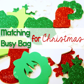 This Christmas matching busy bag will keep your toddler or preschool busy while you have a few moments of quiet time during the busy Christmas season. You can also set up a play area for the kids during a Christmas party!