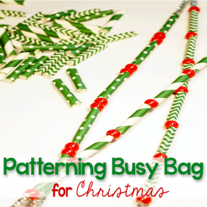 This patterning busy bag for Christmas will keep your little one busy while they build fine-motor skills and learn vital math skills! Suggestions for using with toddlers, preschoolers and kindergarteners make this a great pack to make for multiple children.