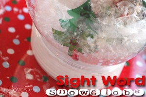 A sight word snow globe is a fun way to review sight words and have some fun on a dreary winter day.
