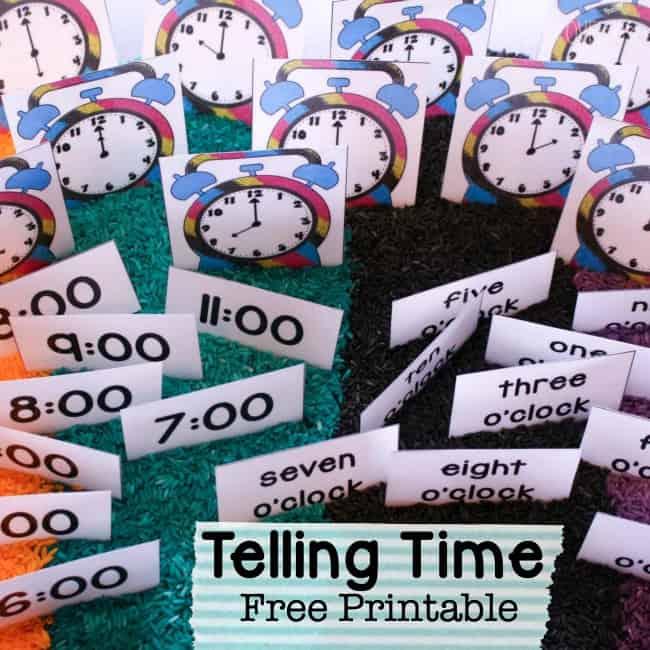 telling time free printable