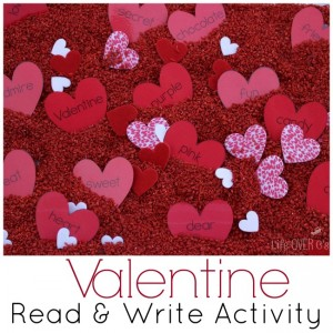 Free Valentine read & write activity is perfect for a sensory bin or read-the-room activity!