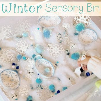 This winter sensory bin is a warm way to enjoy the cold snow! Snowflakes and sparkles make this a winter activity the kids will play with for hours!