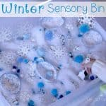 Have fun learning with this Snowflake sensory bin! Lots of great ideas for using a sensory bin for learning different skills.