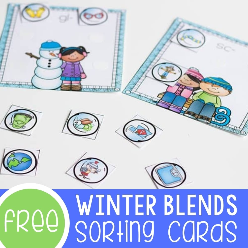 FREE Printable Blends Sorting Mats for Winter