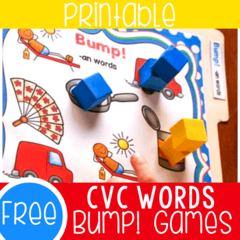 Free CVC Words Bump! Games for kindergarten. These fun CVC Word activities for kindergarten are a great way to practice spelling CVC words.