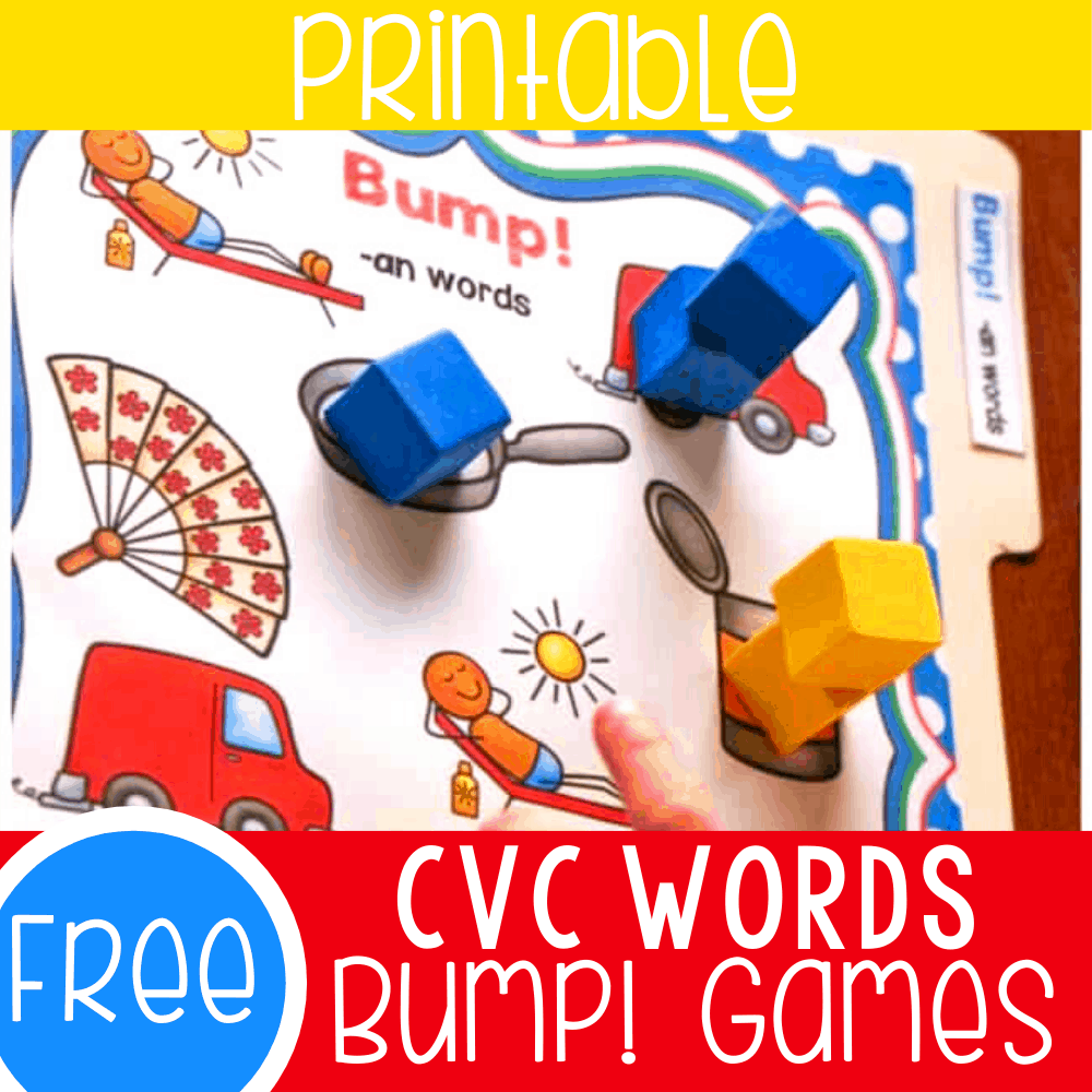 Bump! Free Printable CVC Game for Kindergarten
