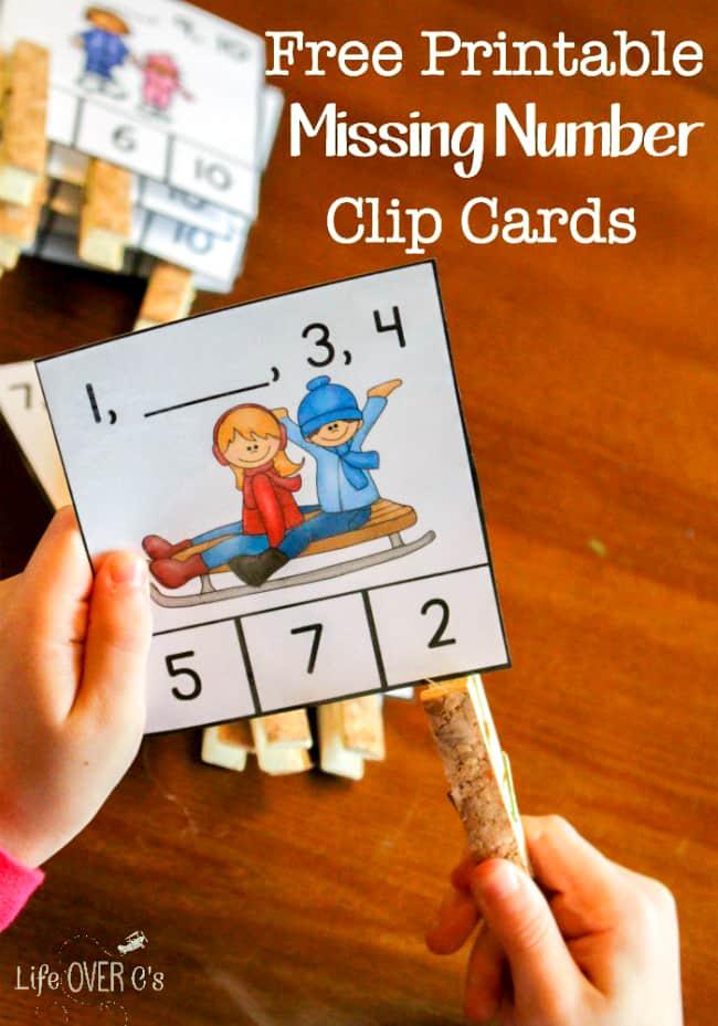 FREE Winter Missing Number Clip Cards for Kindergarten