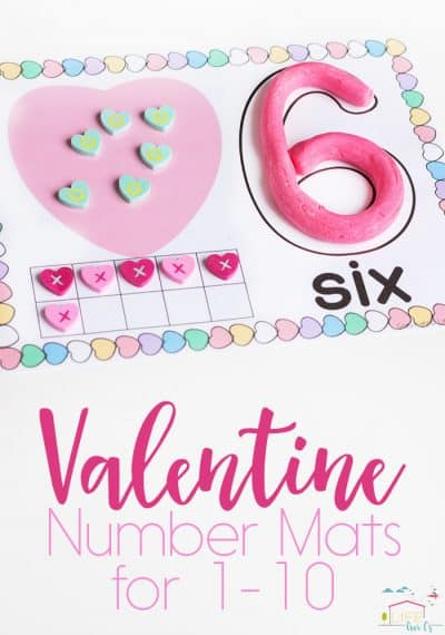 These free printable Valentine Play Dough Number Mats for 1-10 are such a fun way to practice numbers! You can use them with play dough, pom poms, erasers and so much more!