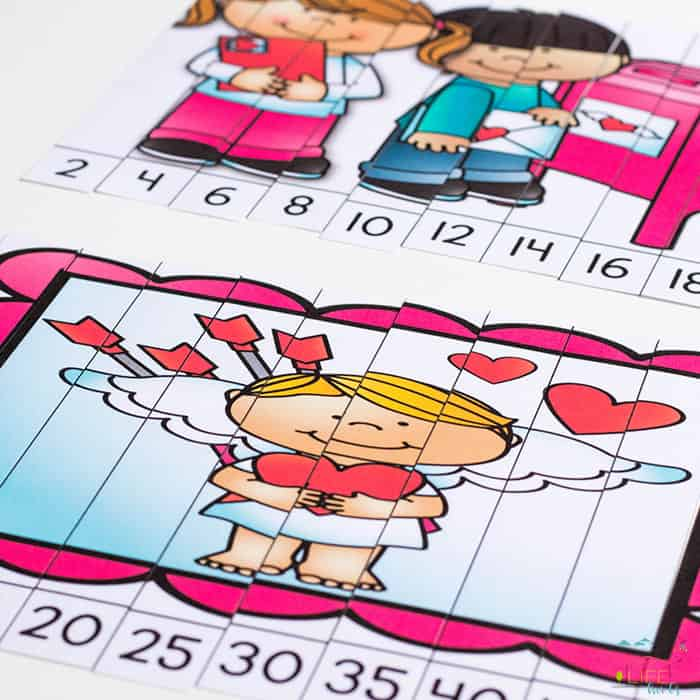 Free Skip Counting Puzzles for Valentine's Day