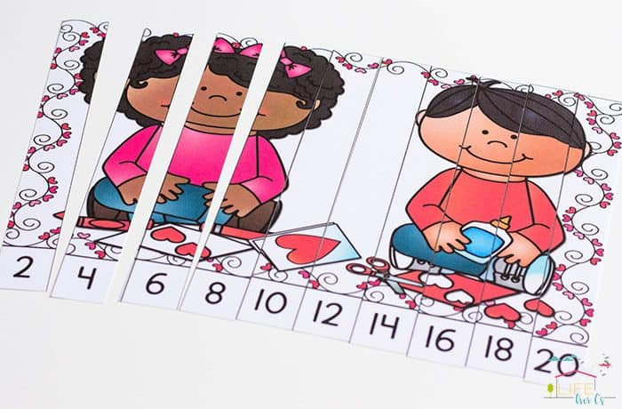 Free Printable Valentine Skip Counting Puzzles are perfect for reviewing skip counting with the kids!