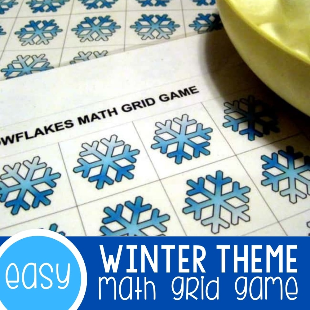 Free Printable Winter Math Grid Game for Preschoolers