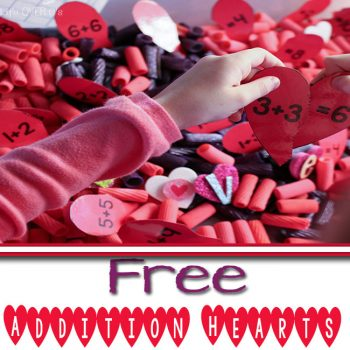 Combine this free valentine printable for addition with a fun sensory bin (or use it without) for a multi-sensory way to review addition!