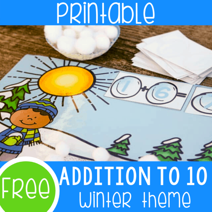 Free printable addition to 10 snowball themed winter math activity for kindergarten. Your kindergarteners will love adding to 10 with this simple free winter printable for math centers.