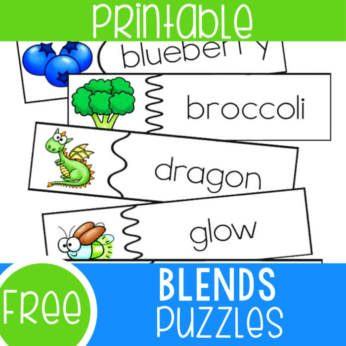Free printable beginning blends puzzles for kindergarteners. Match pictures to beginning blends words with these simple free puzzles.