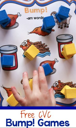 These Bump! free printable CVC games are so much fun! The kids hardly even know they are working!