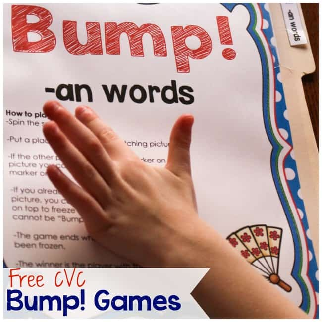 These free printable CVC games are so much fun! My kids love Bump! games!