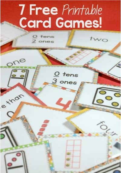 "7 super fun free printable card games using the numbers to 5 for matching, adding, subtracting, multiplying and much more! This includes the super popular Slap It! card game and ""War""!"