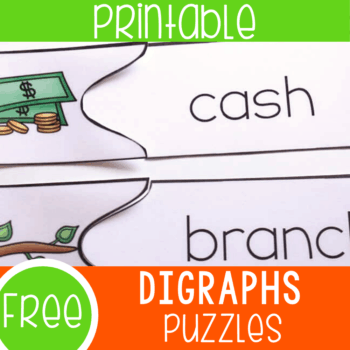 Free printable beginning digraph puzzles for kindergarten and first grade literacy centers. Build on their reading skills with these easy to prepare digraph puzzles.