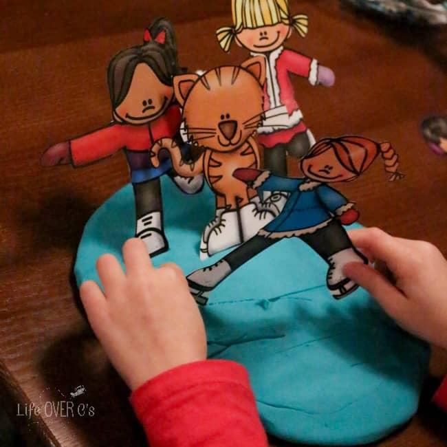 Free Ice Skating Play Dough Printable for pretend play and learning.