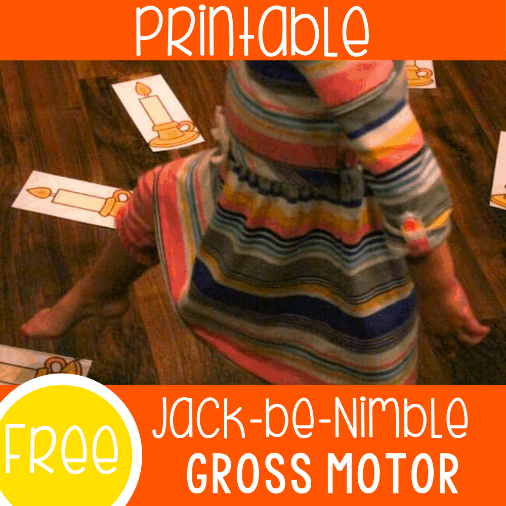 Free printable Jack Be Nimble Nursery rhyme activity for preschool. Work on gross motor skills while learning nursery rhymes with your kids.