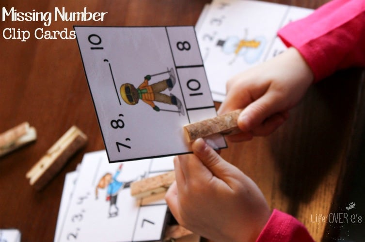 These free winter missing number clip cards are part of the 31 Days of Free Printables for Hands-On Learning! Learning doesn't have to involve boring worksheets ever again!