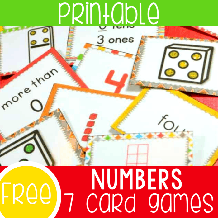 Free printable math card games for number recognition. Build numeracy skills for one more, subitizing, number recognition, reading numbers and more with these fun number recognition activities for preschoolers and kindergarteners