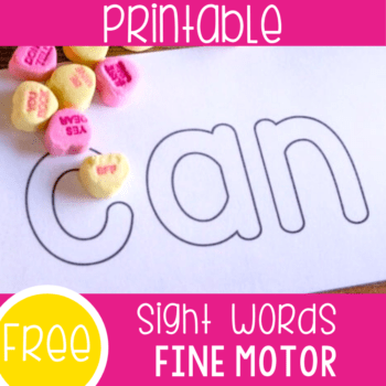 Free printable pre-primer preschool sight word outlines for fine motor skills. Use candies, pom poms, mini erasers, or Wikki Stix to build the words with these simple outlines.