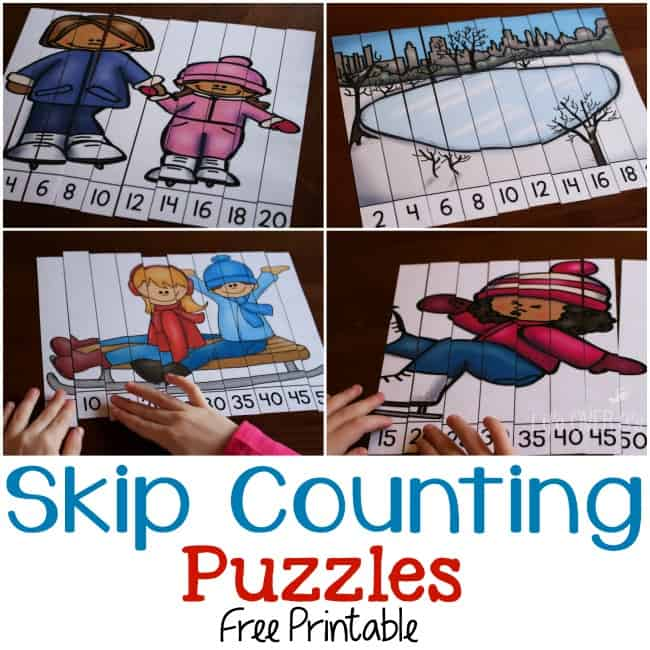 Free skip counting puzzles for winter! Part of the 31 Days of Free Printables for Hands-on Learning!