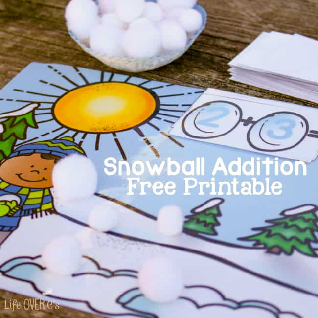 Practice addition facts with this cute snowball addition activity. Use the free printable to help visual learners understand the concept of addition.