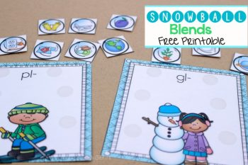 This free word work printable for practice blends is so cute! The snowball blend pictures are lots of fun!