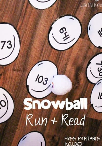 The snowball run & read is a great gross-motor activity for winter. Have fun inside while learning place value to the hundreds place.
