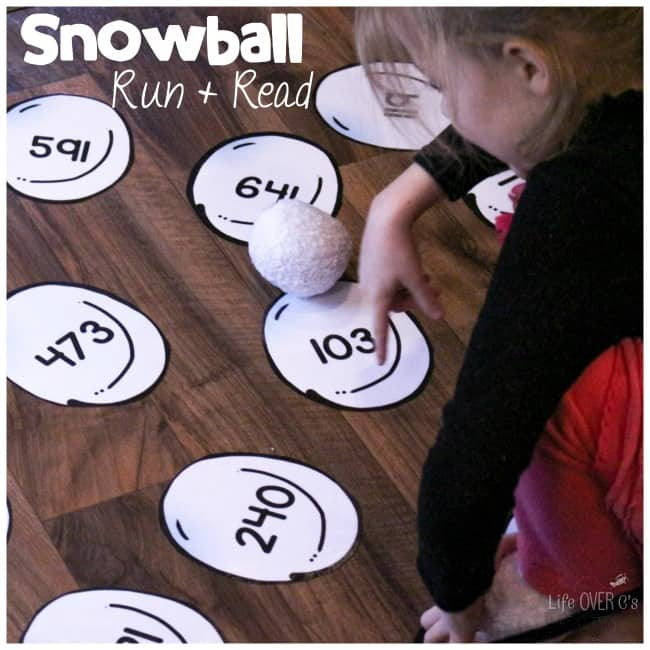 This Run & Read Snowball gross motor activity combines the need for movement with learning! Kids love running to the numbers and reading them becomes quite the game! Get your free printable and start playing today!