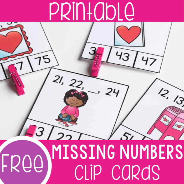 Free printable missing numbers activity for first grade. Work on missing numbers to 100 with these fun Valentine theme missing number clip cards. The perfect addition to your 1st grade math centers in February.