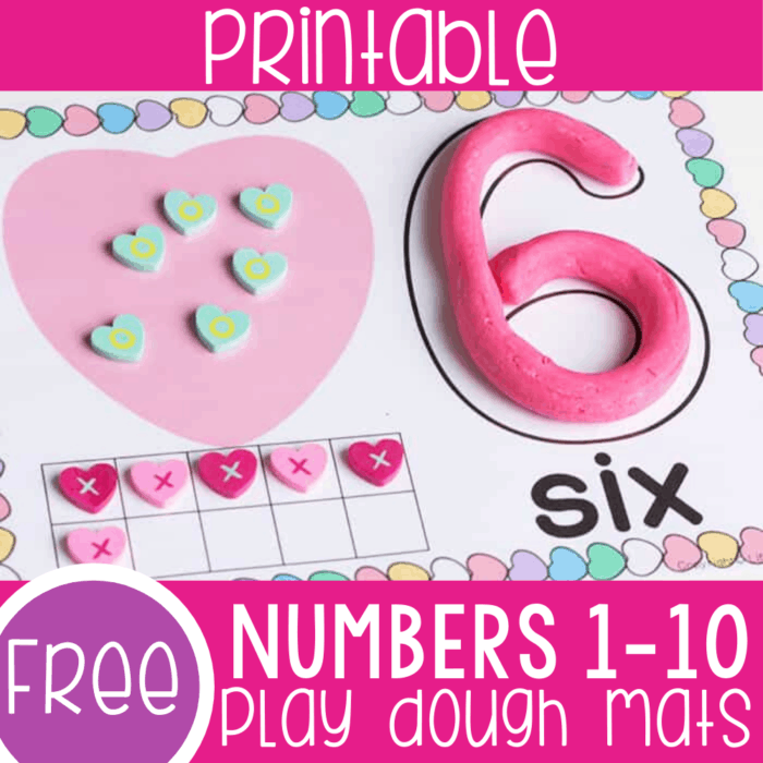 Free printable Valentine Number mats for counting to 10 with your preschoolers. Practice number recognition, number formation, arrays, and ten-frames with these conversation heart themed Valentine play dough number mats